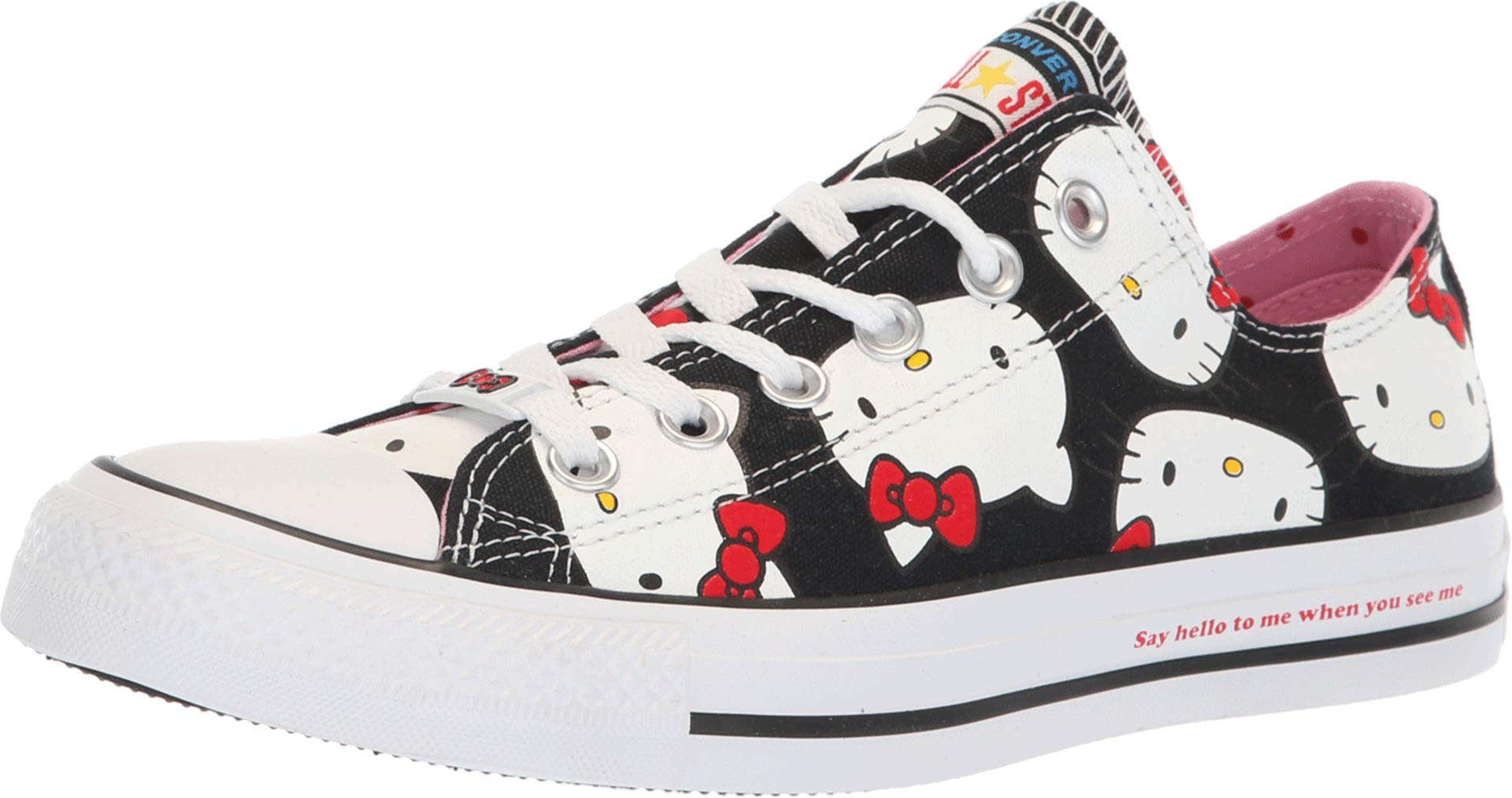 e3bac39b64dca Converse Chuck Taylor All Star Lo Hello Kitty Fashion Sneakers (Black 9617,  5 Women / 3 Men B US)