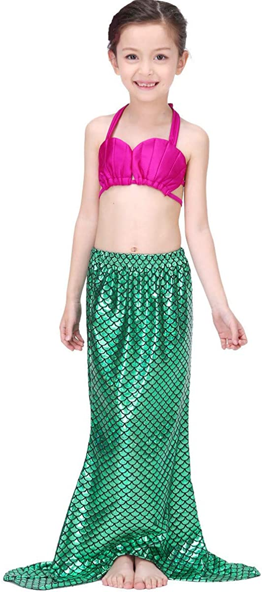 No Monofin Tsyllyp 2020 New Girls Swimsuit Mermaid Tails for Swimming Princess Bikini Bathing Suit 3PCS Set for 3-12Y