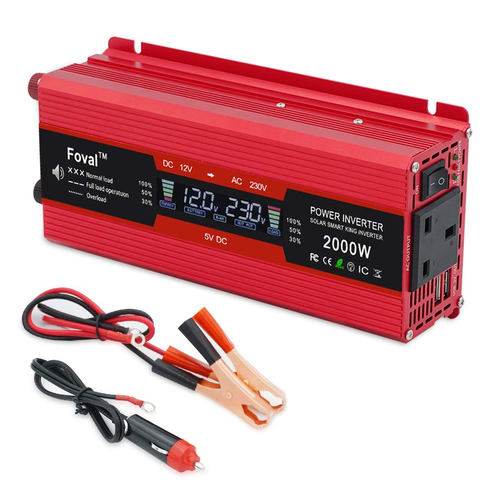 Yinleader 1000W/2000W Peak Power Inverter DC TO AC 12V TO 230V 240V Car Converter with USB AC Sockets Car Adapter LCD Display ShenZhenShiYinHangZheKeJiYouXianGongSi