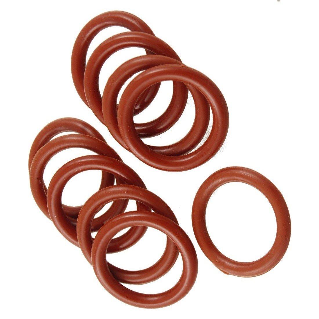 O Ring R 10 PCS Brick Rot Silikon O Ring Dichtung Unterlegscheibe 24 mm x 30 mm x 3 mm SODIAL