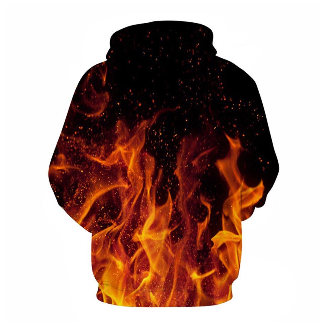 CiKiCOCCO 3D Fire Hoodie Sweatshirt Hip Hop Street Sweatshirt Hoodie Sportswear