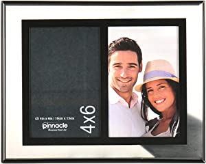 Pinnacle Frames and Accents 2-Opening Float Frame, 4 by 6-Inch, Silver and Black