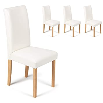 Your Price Furniture Com Set Of 4 Ivory White Faux Leather Torino