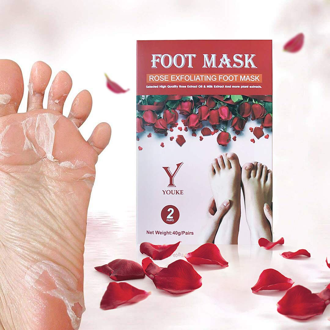 Rose Exfoliating Foot Peeling Mask 2 Pairs Scented Peel Booties for Callus Dead Skin, Get Soft Touch Smooth Feet in 1 Week YOUKE