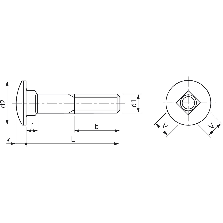 50 St/ück SECOTEC V105A048S529 Torbandschraube DIN603 M6X80 verzinkt-blau KP-50 mm