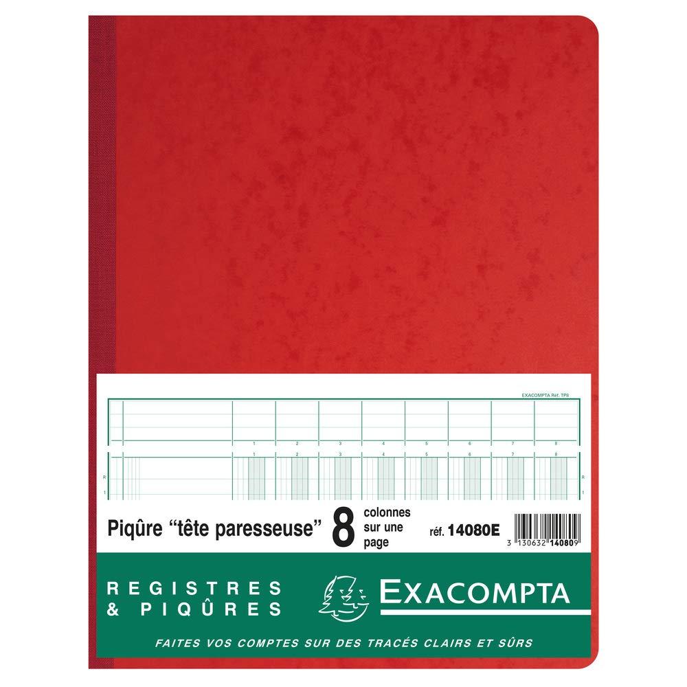 31 Lignes 14060Re Ref Rouge 80 Pages Piqure 32X25cm /à T/ête Paresseuse 6 Colonnes sur 1 Page Exacompta