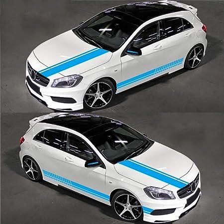 Wangscanis Universal Gestreifte Auto Aufkleber Car Racing Body Auto Karosserie Seitenstreifen Aufkleber Für Alle Autos 5 Stücke Blau Auto