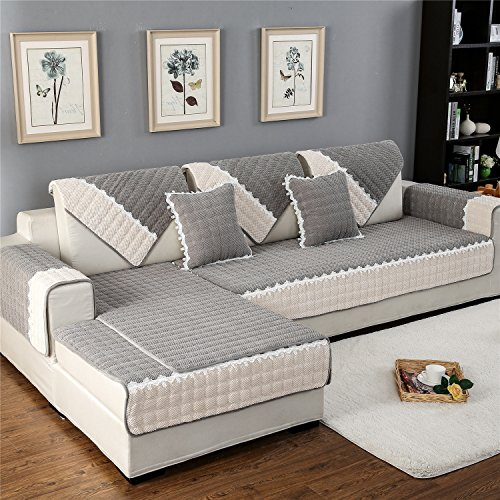- OstepDecor Multi-Size Rectangular Corduroy Quilted Furniture Protector and Slipcover for Pets, Kids, Dogs - Sofa, Loveseat, Recliner and Chair | Grey 36