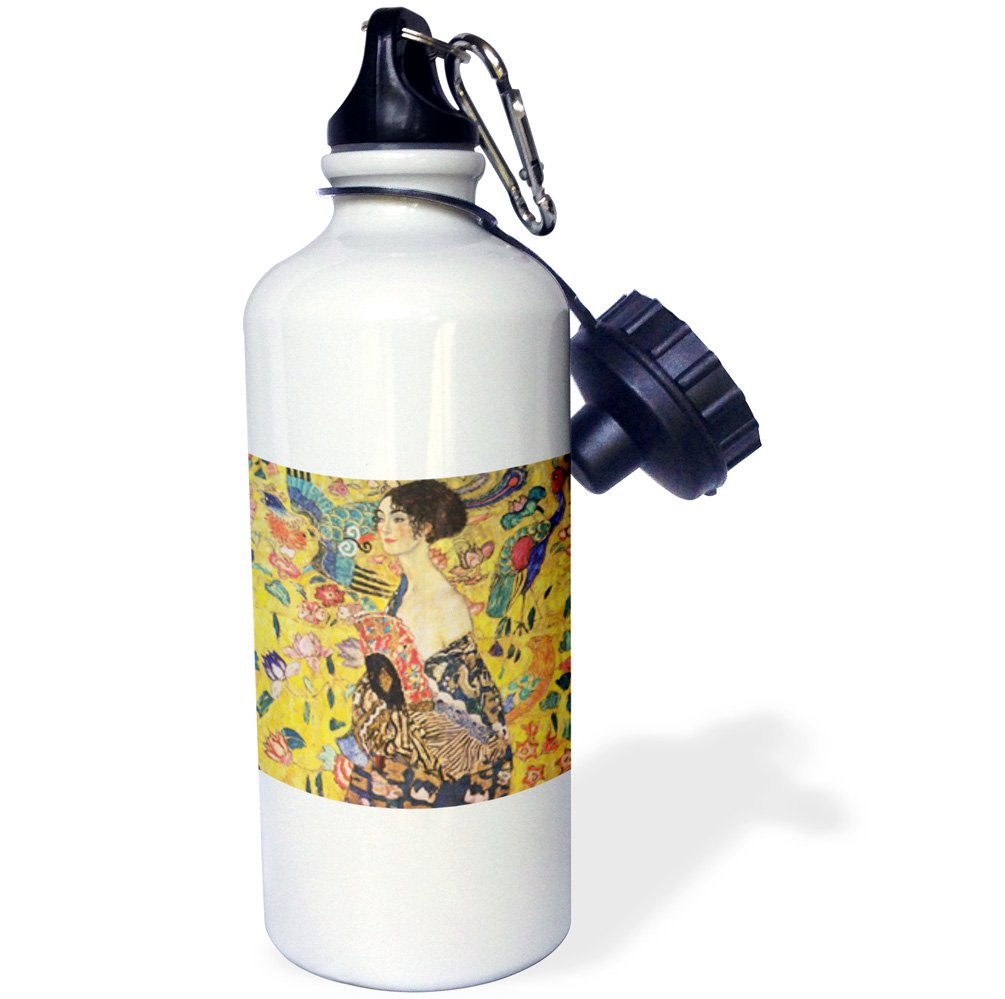21oz Multicolored 3dRose Pad Print of Klimt Painting Lady with Fan pd-us-Sports Water Bottle wb/_203694/_1