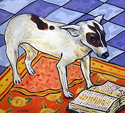 Rat Terrier reading on a carpet rug dog art tile coaster gift gifts prints