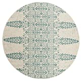 Safavieh Evoke Collection EVK521F Ivory and Teal Round Area Rug (6'7 in Diameter)