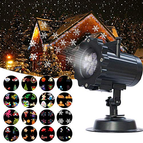 Christmas Lights Projector, Guaiboshi LED Landscape Lights Lamp with 16 Slide Show Pattern for Halloween Wedding Birthday Party Garden Decorations with Remote Control]()