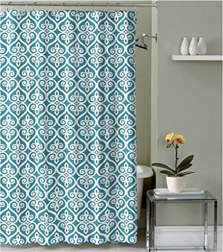 Teal Blue Taupe White Fabric Shower Curtain Scroll Moroccan Design With Hooks