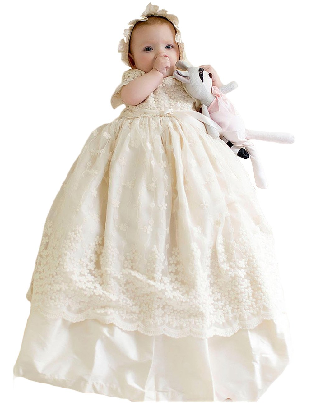 Newdeve Christening Dresses For Baby Girls Infant Girl Flower Dress (Preemie, white)