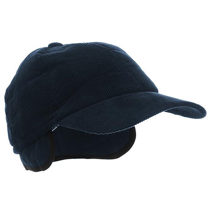 MegaCap Men s Corduroy Winter Baseball Cap w  Earflaps MEDIUM Navy ... 8a651f82148