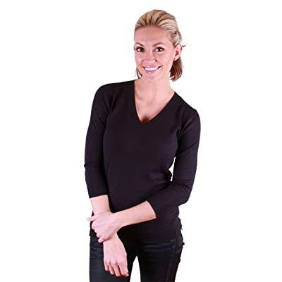525 America Women's 3/4 Sleeve, V-neck Pullover Sweater
