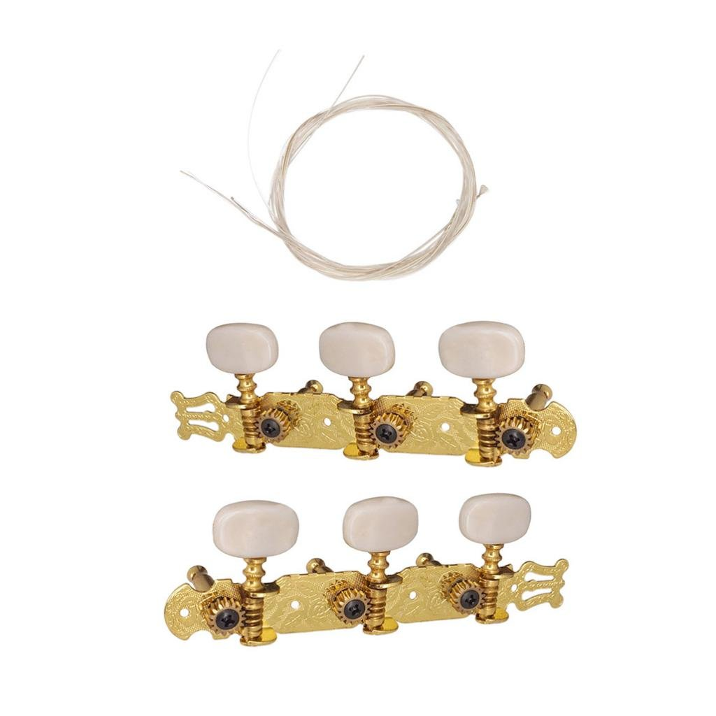Homyl 2 Pieces Guitar Tuning Pegs Keys with Nylon String Set for Acoustic Classical Guitar Parts