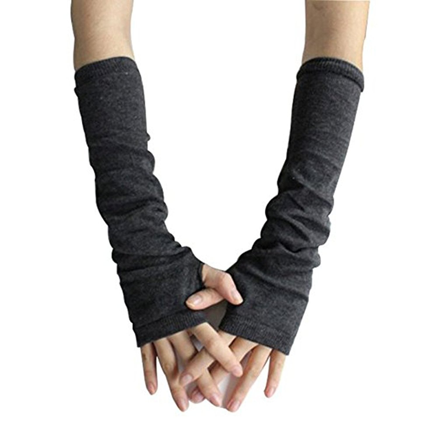 Women Knitted Fingerless Winter Long Gloves Soft Mitten Wrist Arm Hand Warmer