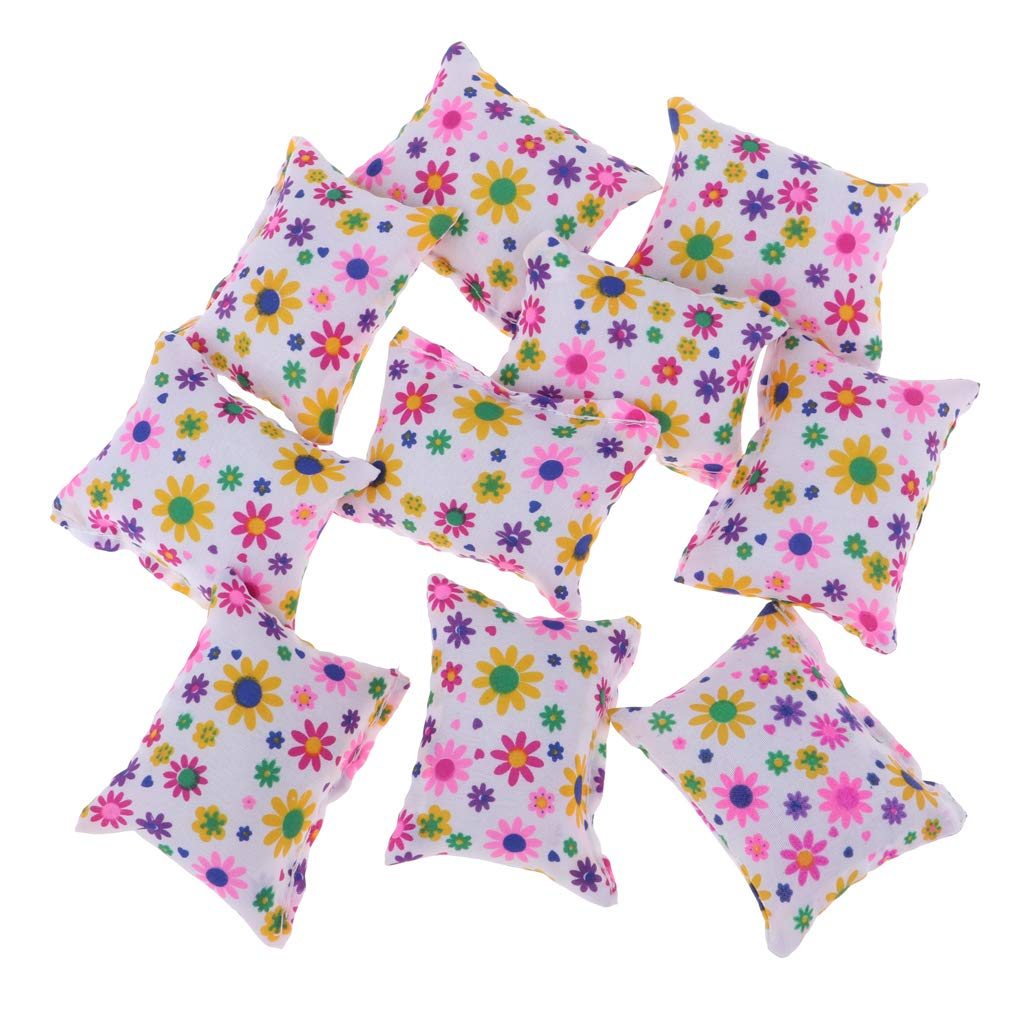 D DOLITY 10pcs Dollhouse Miniature Floral Cushions Pillow Sofa & Bed for 1/6 Doll Accessories