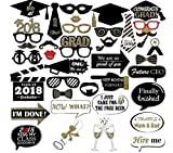 Graduation Photo Props Glitter, Large Graduation Photo Booth Props Accessories 2018 for Graduation Party Decoration Pack of 38
