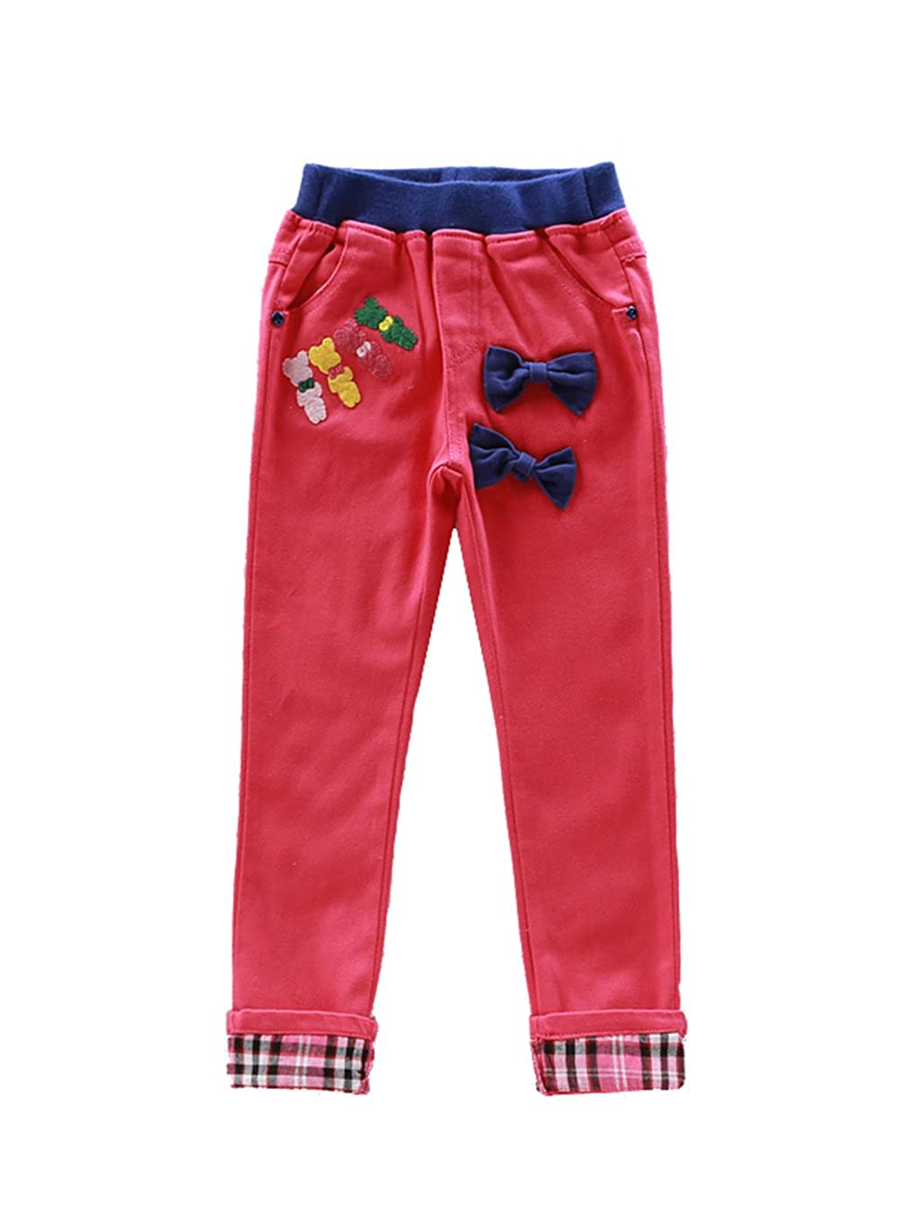 height:55.12 Only Faith Girls Pants Autumn Casual Pants Skinny Leg Pencil Pants , Rose Red 140