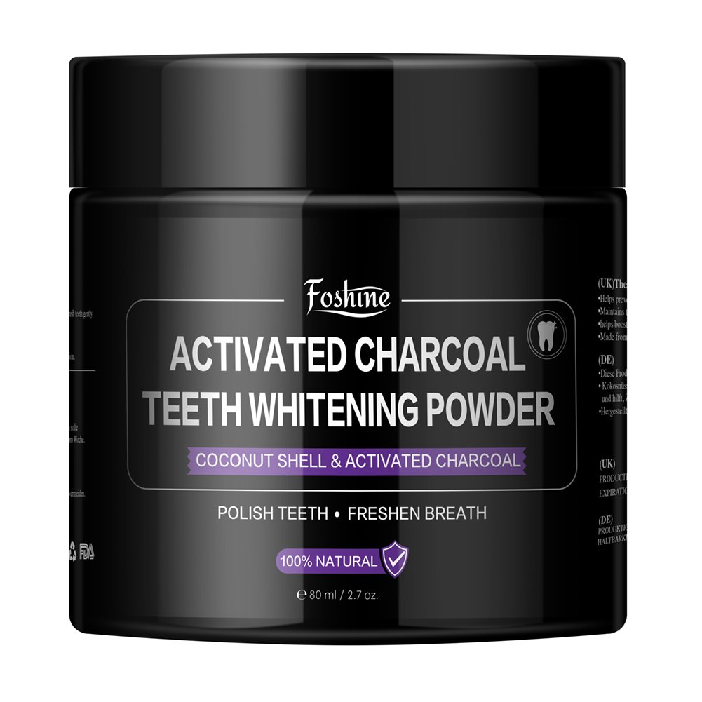 Teeth Whitening,Foshine Activated Charcoal Natural Teeth Whitening Powder-100% Natural Fluoride Free-Massive 80g Capacity for The Whole Family product image