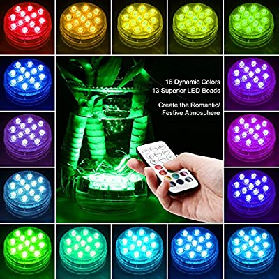 Luces Sumergibles GolWof Led Sumergible 2 Pack 13 LEDs 16 Colores Luz LED Impermeable IP68 Luz Sumergible con Control Remoto Luz de Piscina para Decoración Piscina Jarrón Bodas Halloween Navidad: Amazon.es: Iluminación