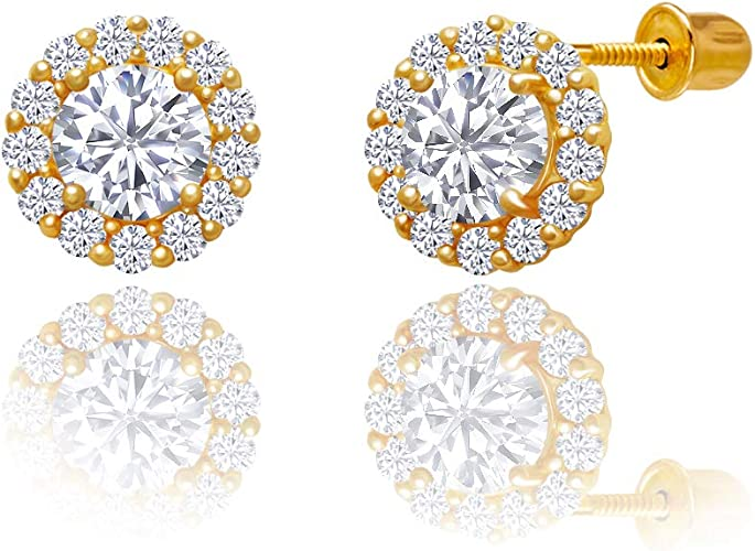 14kt Solid Gold Kids Round Screwback Stud Earrings