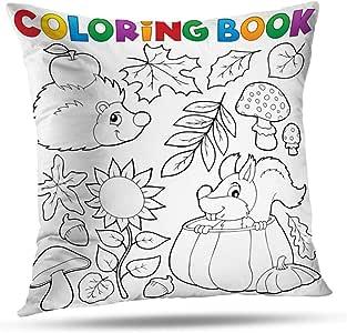 sodnz Pillowcase Libro para Colorear Otoño Naturaleza Tema