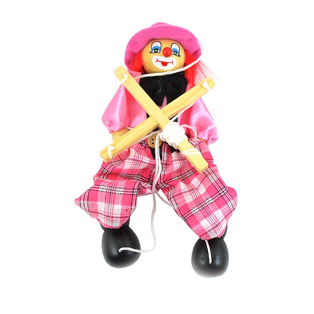 Wooden marionette PULL clown toys for children(pink)