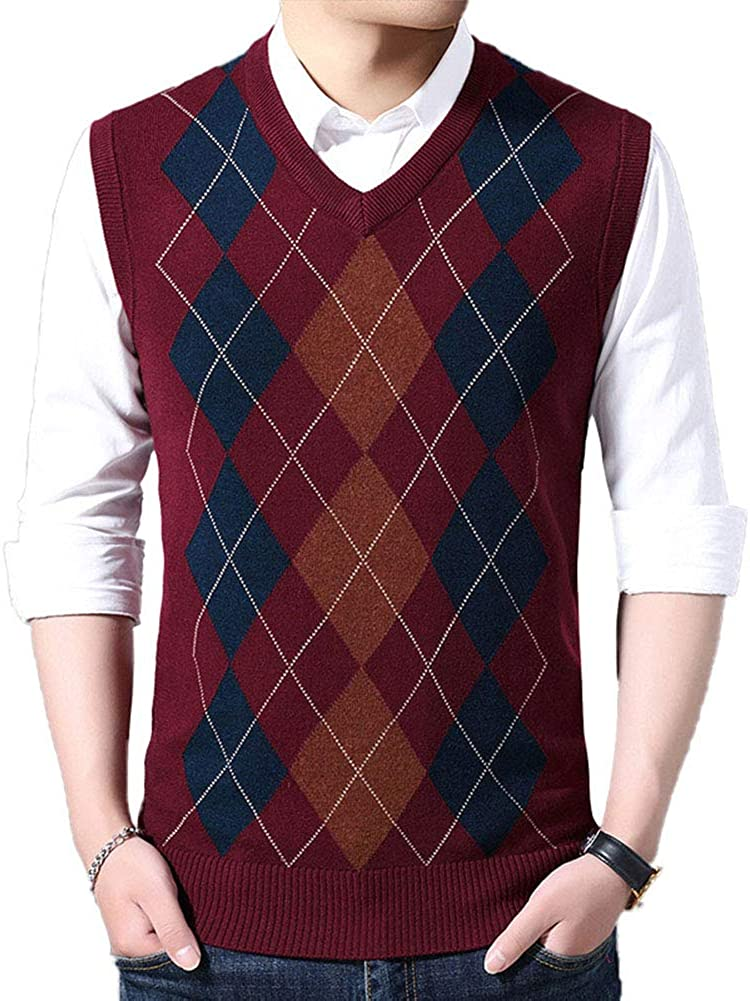 HEQU Men's Argyle V-Neck Sweater Casual Vest V-Neck Golf Sweater Vest