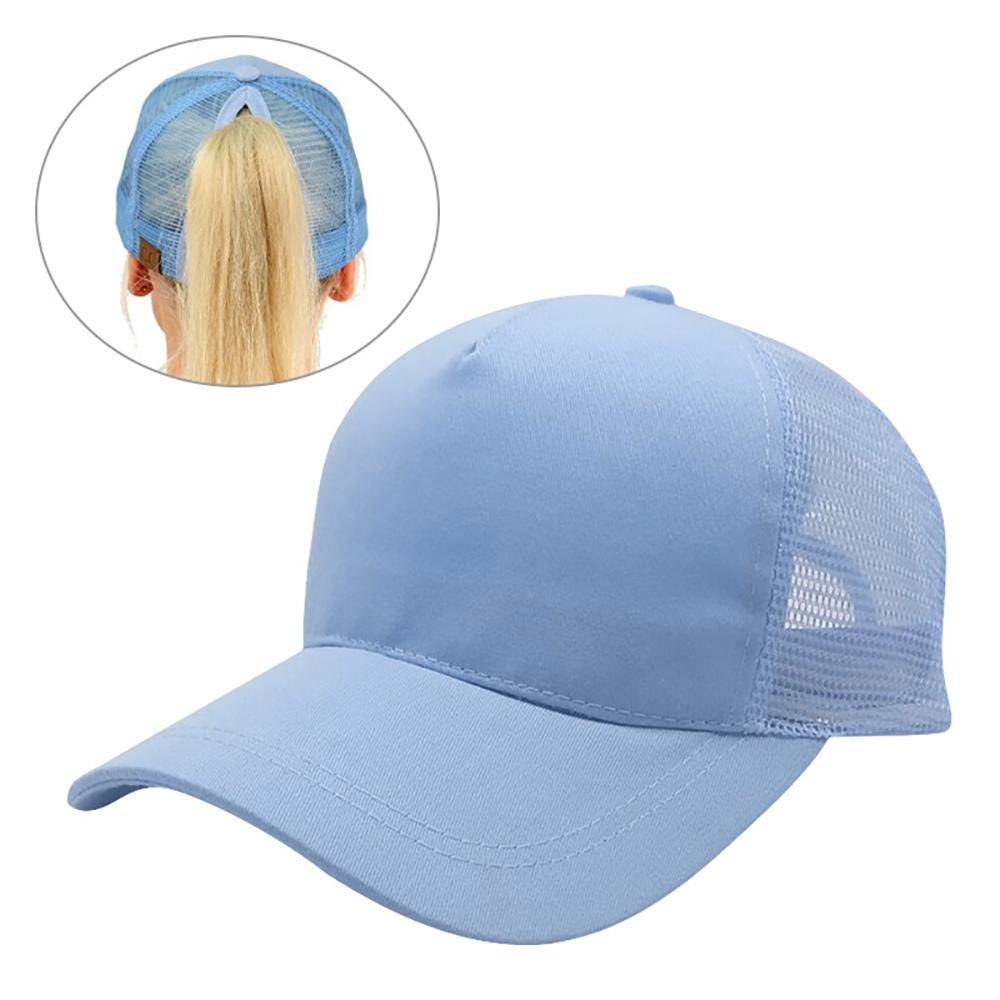 Leegoal Ponytail Baseball Cap, Women's Baseball Cap Adjustable Mesh Bun Trucker Hat