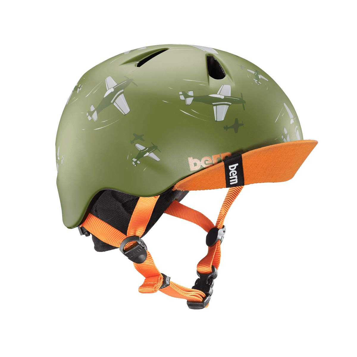Bern Unlimited Nino Helmet w/ Flip Visor (Matte Green Dogfight, Small/Medium) by Bern (Image #1)