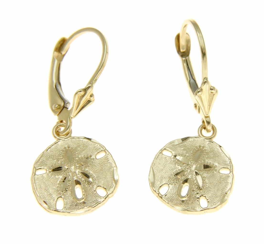 14K solid yellow gold Hawaiian diamond cut 11.5mm sand dollar leverback earrings