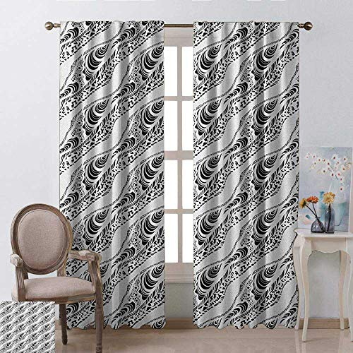 youpinnong Abstract, Curtains Bathroom Window, Animal Skin Patterns Monochrome Zebra Panther Lion and Other African Creatures, Curtains Kids Room, W96 x L96 Inch, Black White