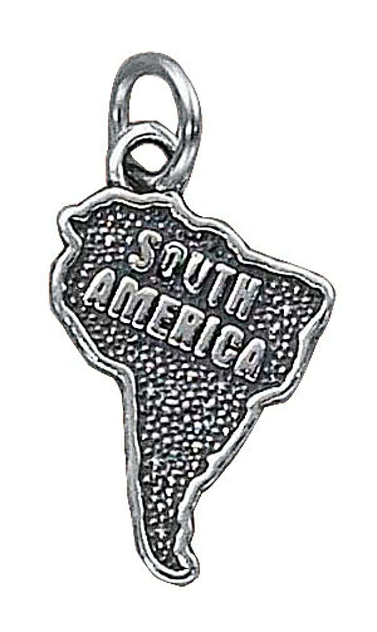 Sterling Silver 7 4.5mm Charm Bracelet With Attached Outline Map Of Of South America Continent Charm