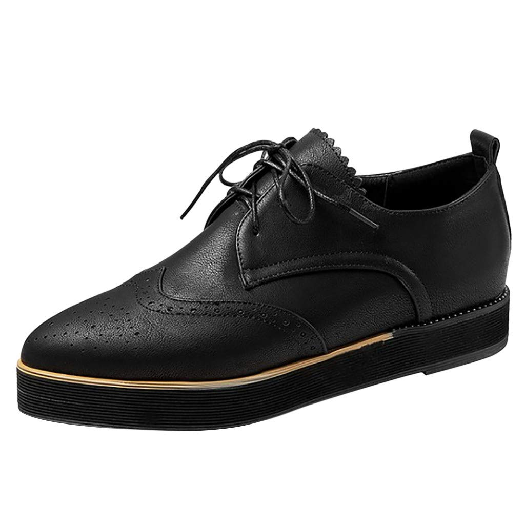 Women's Platform Lace-Up Shoes Wingtips Square Toe Oxfords Flat Driving Loafers Soft Leather Brogues with Comforty Insole (US:6(37), Black)