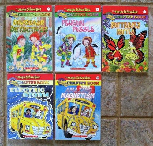 Magic School Bus Set of 5 Chapter Books (Butterfly Battle ~ Penguin Puzzle ~ Electric Storm ~ Amazing Magnetism ~ Dinosaur Detectives) (Magic School Bus Electric Storm)