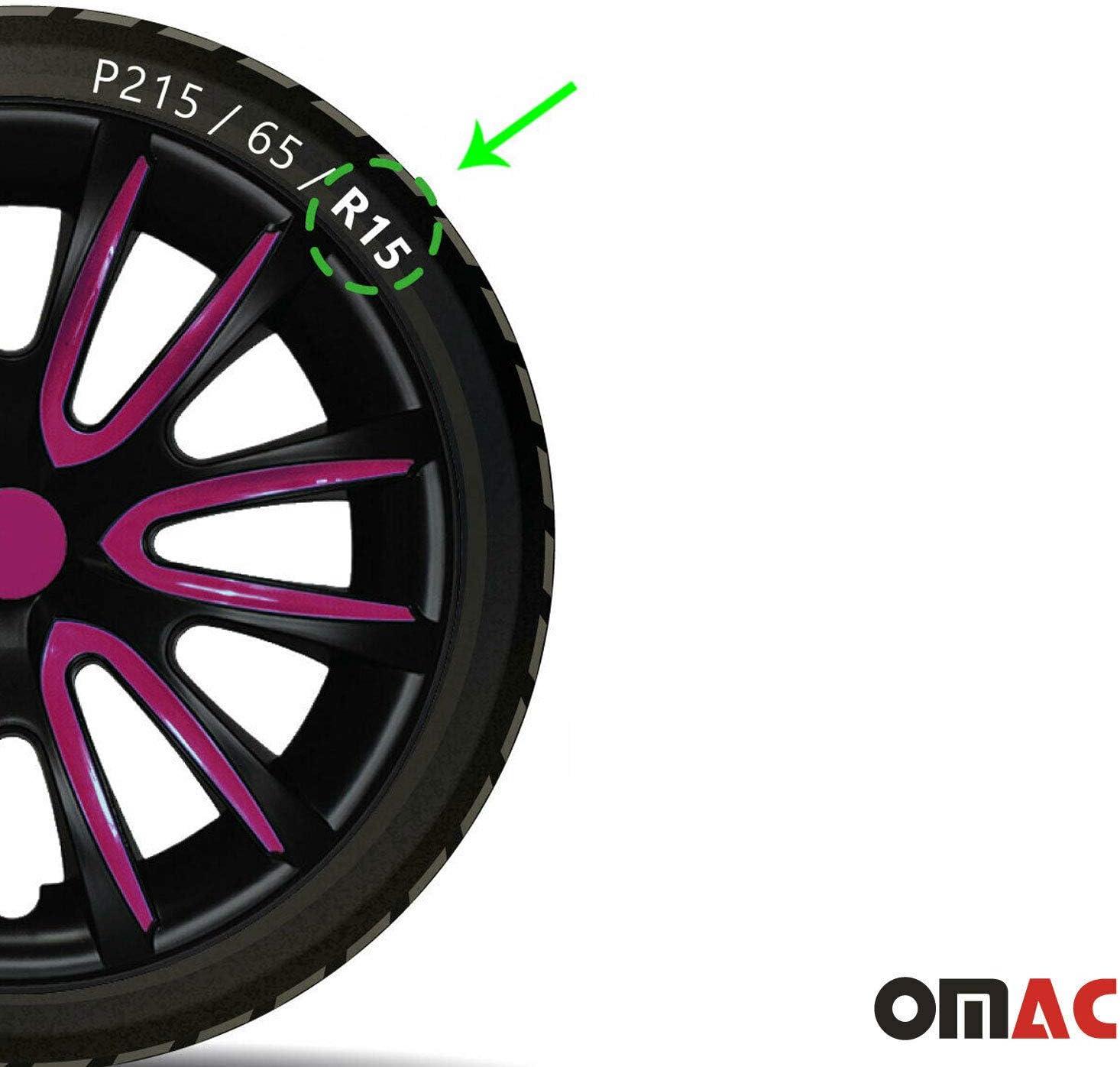 OMAC GmbH Wheel Trims 15 Inch Steel Rims Matt Black Purple Set of 4