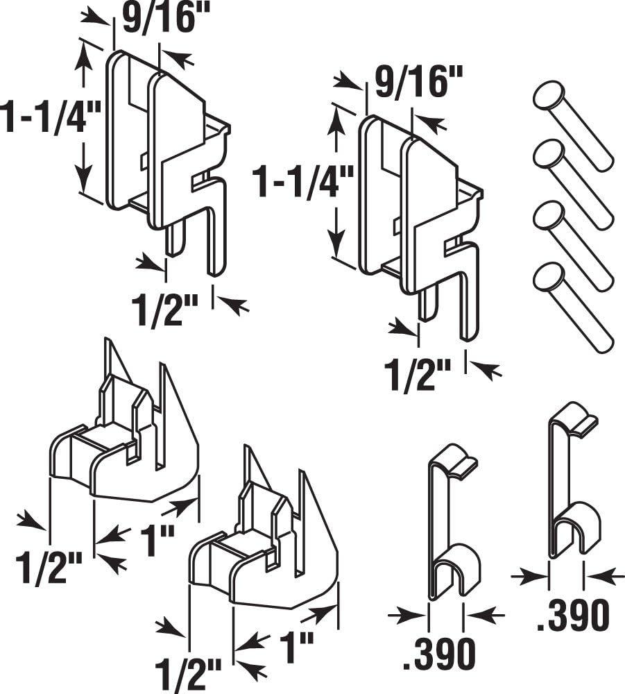 FS101-Top /& FS153-Btm 2 Sets 10 Piece Nylon /& Steel Components Prime-Line MP101153 Channel Balance Accessories