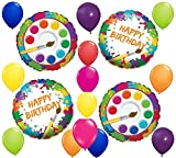 17pc BALLOON set ART PARTY splatter BIRTHDAY PARTY favors DECORATIONS artist NEW
