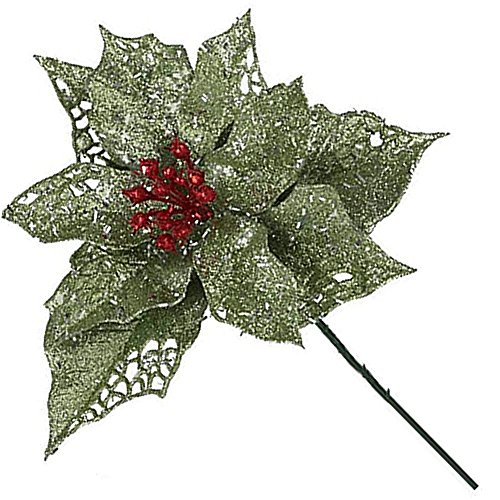 Sparkle Glittered Poinsettia Pick 6.5In GREEN Christmas Flowers Collection ()