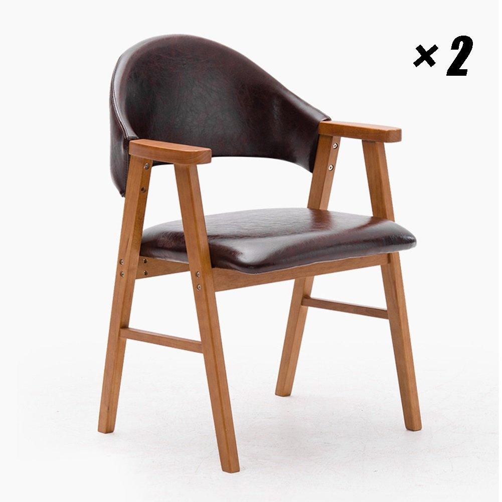 ラウンジクッションPUシートソリッドウッドダイニングチェア家具、キッチン、コンファレンス、オフィス用モダンシンプルなカフェチェア57×58.5×81.5cm (色 : 木の色, サイズ さいず : Set of 2) B07F598DTN Set of 2 木の色 木の色 Set of 2