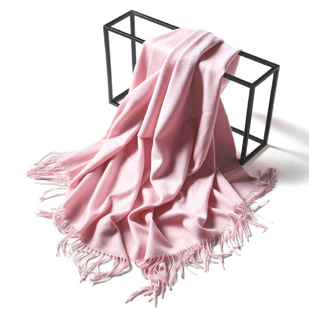 LakeMono 100% Cashmere Scarf Super Soft Large 79''x28'' Luxurious Solid Color Water wave style Shawls for Women and Men (Sweet pink)