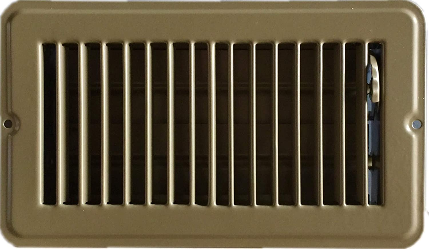 "RV and Home Brown Stamped Steel Floor Diffuser/Register with Damper 8"" X 4"" (Duct Opening Size) Outside Dimension 9.6""x 5.6"""