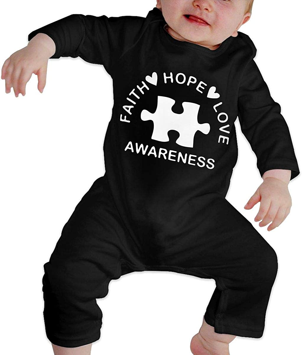 Faith Hope Love Awareness-1 Organic One-Piece Kid Pajamas Clothes Toddler Baby Boy Romper Jumpsuit