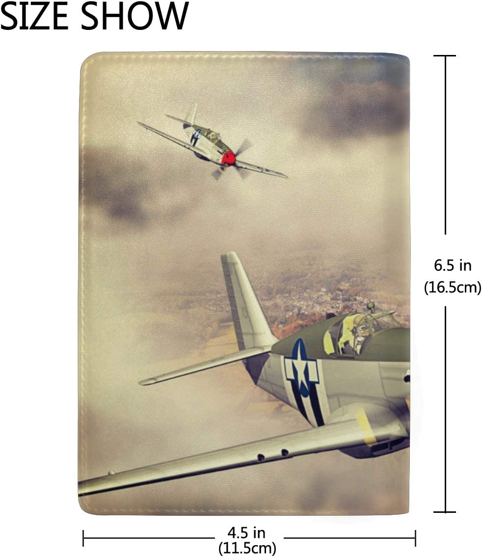 3d Model Of Ww2p-51b Mustang In Flight Blocking Print Passport Holder Cover Case Travel Luggage Passport Wallet Card Holder Made With Leather For Men Women Kids Family