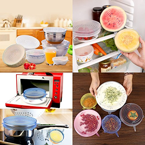 Silicone Stretch Lids - 12pack Silicone Food Covers to Keep Food Fresh - Reusable Stretch Silicon Food Saver of Various Sizes for Can,Pots,Pans,Drinking Glass,Bowls,Fit Various Shape of Containers