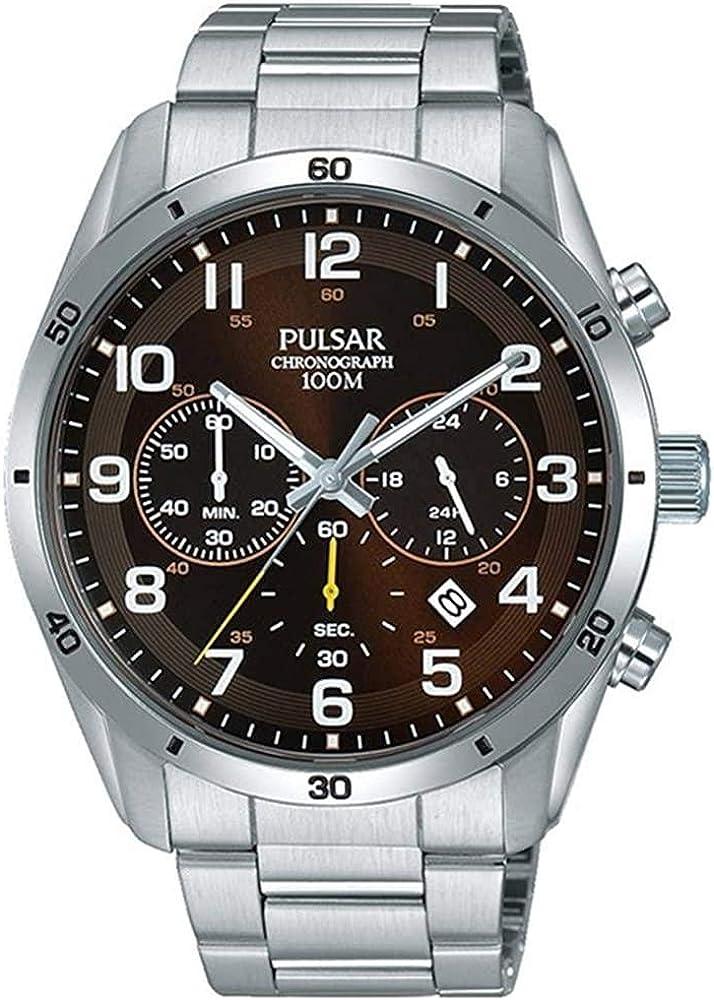 Pulsar Reloj Analógico para Hombre de Cuarzo con Correa en Acero Inoxidable 1