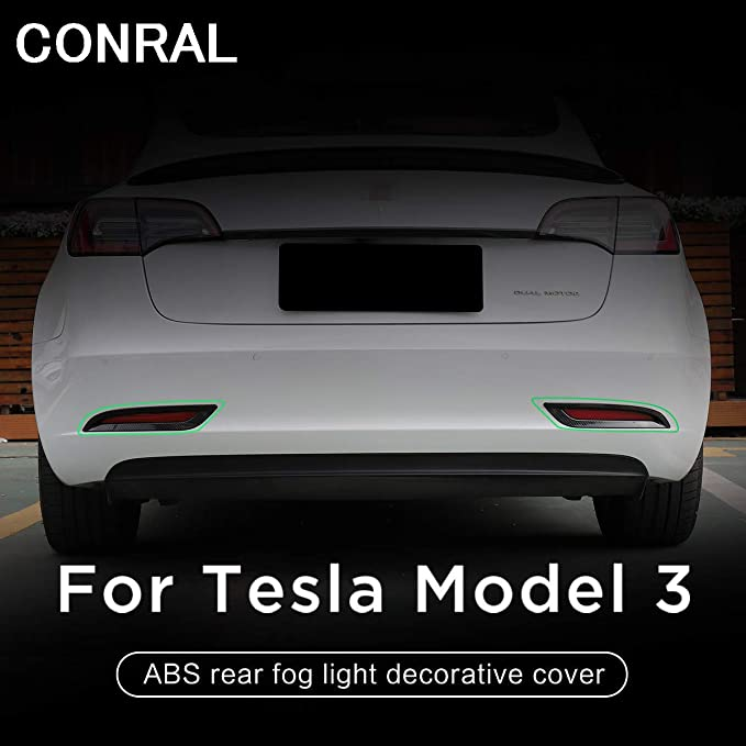 WOVELOT For Tesla Model 3 Carbon Fiber Abs Car Rear Taillights Fog Lamp Light Decoration Cover Trim 2Pcs Car Styling